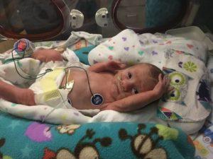 Newborn Noah hooked up to monitors