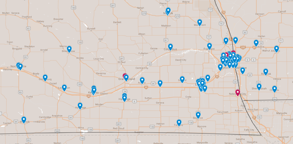 Map of McDonald's locations participating in Big Red Friday