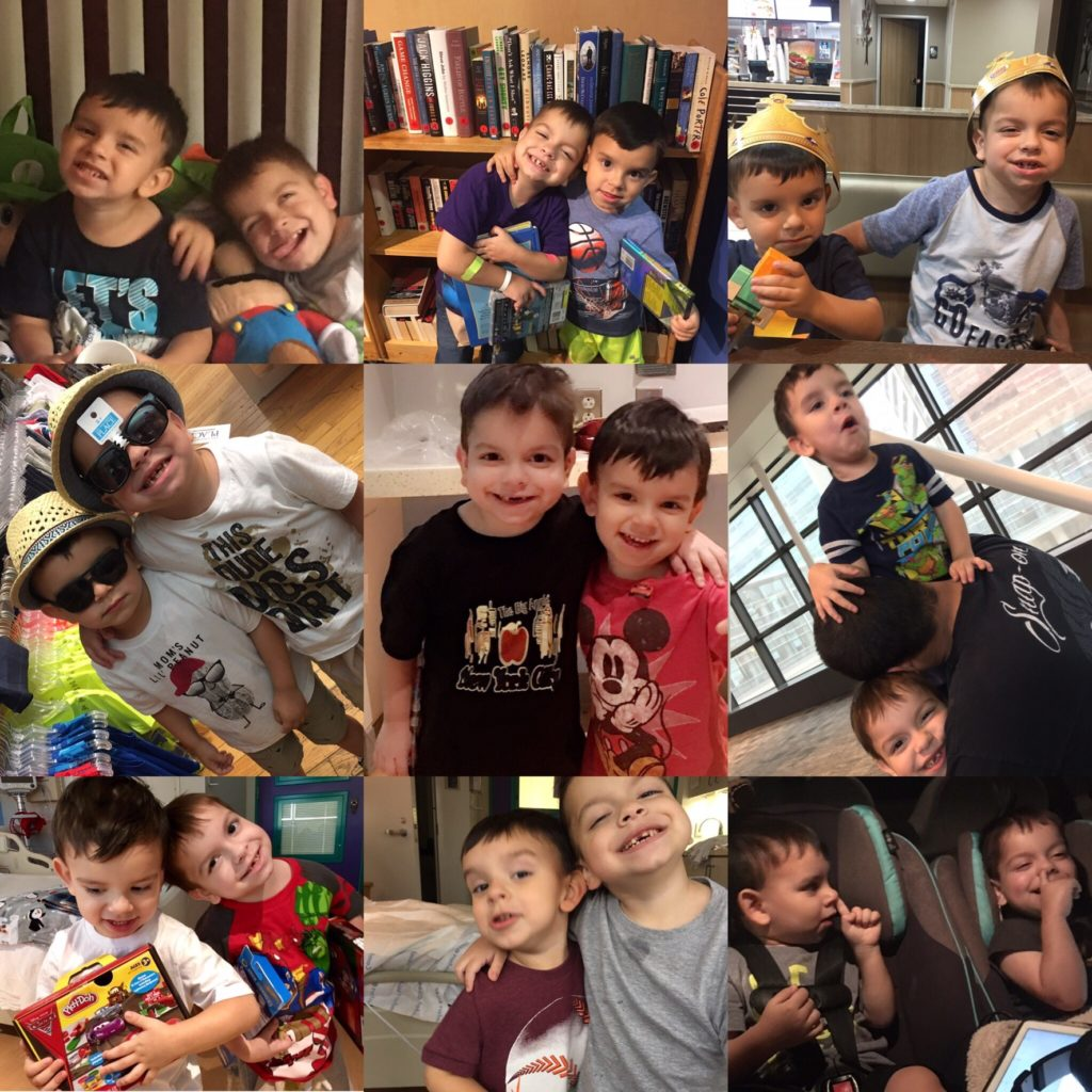 Collage of photos of Juan with his brother, Cameron.