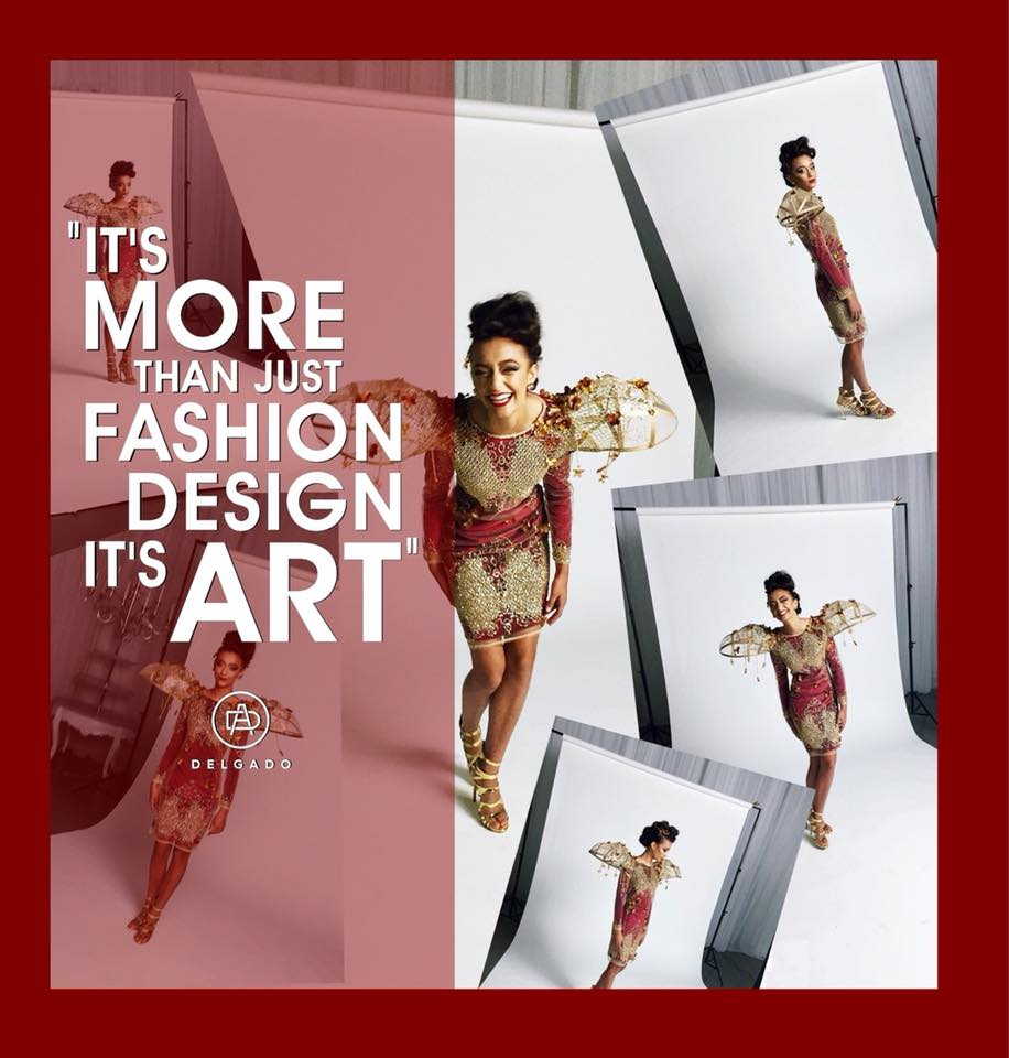 Collage of a model wearing Agustin Delgado's work, with caption It's More than just fashion design, it's art